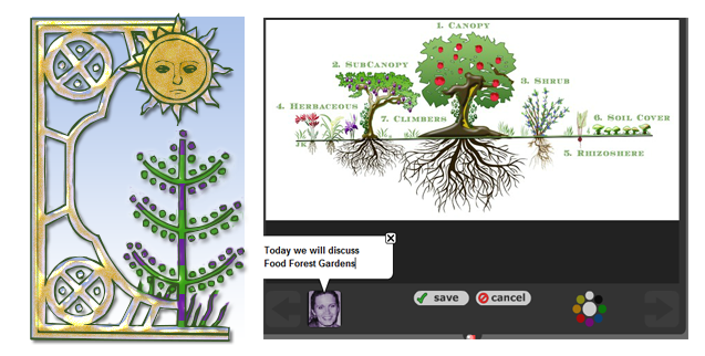 Figure 4: Shrub Layer of a Food Forest Garden and the corresponding Social Media (Voice Thread) technology layer
